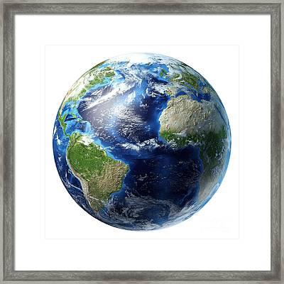 3d Rendering Of Planet Earth Centered Framed Print