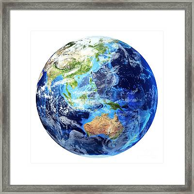 3d Rendering Of Planet Earth Framed Print