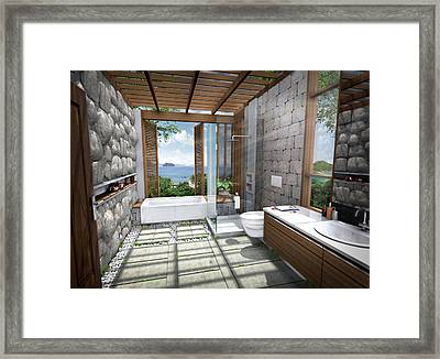 3d Tropical Bathroom Framed Print