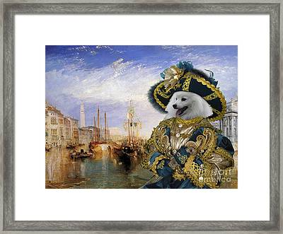 Japanese Spitz Art Canvas Print  Framed Print by Sandra Sij
