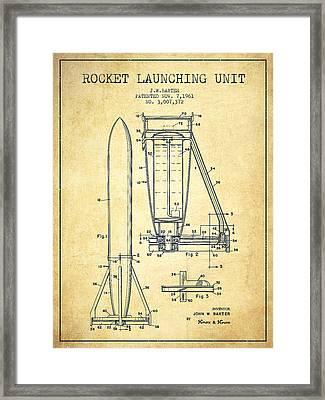 Rocket Launching Unit Patent From 1961 Framed Print by Aged Pixel
