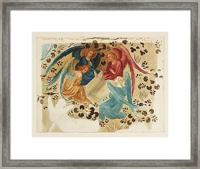 Five Angels Around A Book Null Framed Print