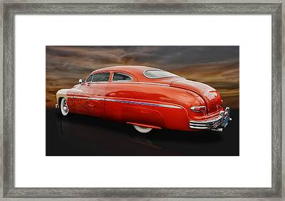 1950 Mercury Sedan With Flames Framed Print by Frank J Benz