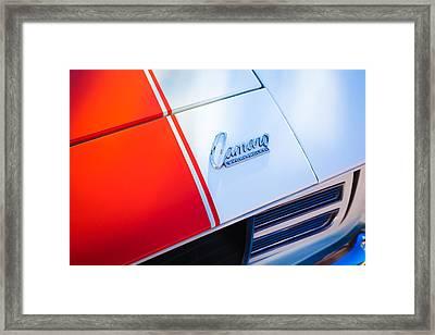 1969 Chevrolet Camaro Rs-ss Indy Pace Car Replica Hood Emblem Framed Print by Jill Reger