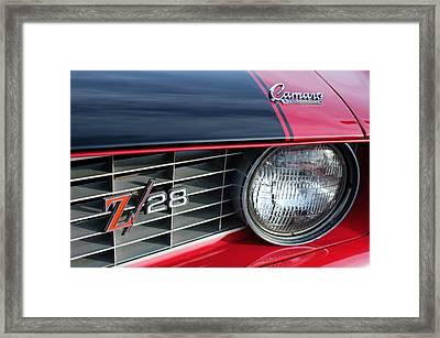 1969 Chevrolet Camaro Z-28 Grille Emblem Framed Print by Jill Reger