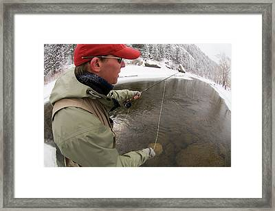 A Man Fly Fishing On The Cache La Framed Print