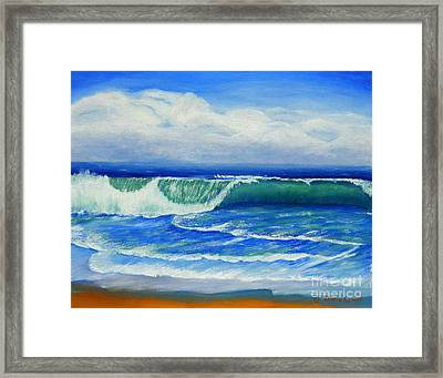 Framed Print featuring the painting A Wave To Catch by Shelia Kempf