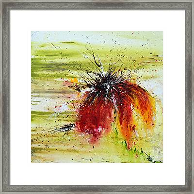 Framed Print featuring the painting Abstract Flower by Ismeta Gruenwald