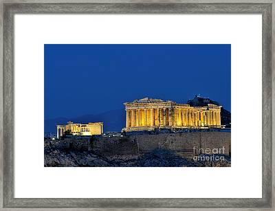 Acropolis Of Athens During Dusk Time Framed Print