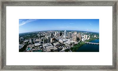 Aerial View Of A City, Austin, Travis Framed Print by Panoramic Images