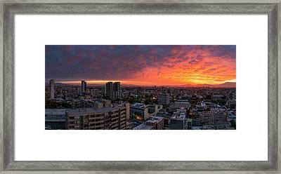 Aerial View Of Cityscape At Sunset Framed Print by Panoramic Images