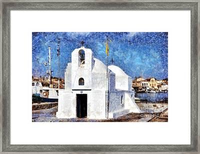 Agios Nikolaos Chapel In Aegina Port Framed Print by George Atsametakis