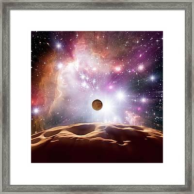 Alien Planet And Star Cluster Framed Print by Detlev Van Ravenswaay