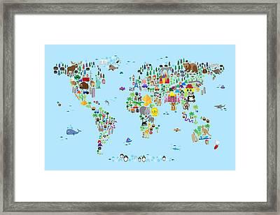 Animal Map Of The World For Children And Kids Framed Print by Michael Tompsett