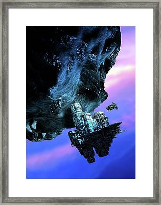 Asteroid Mining Framed Print by Victor Habbick Visions/science Photo Library