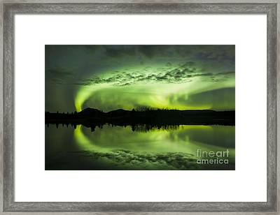 Aurora Borealis Over Fish Lake Framed Print by Joseph Bradley