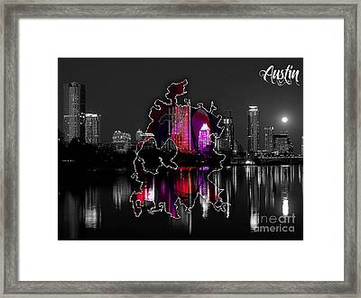 Austin Map And Skyline Watercolor Framed Print