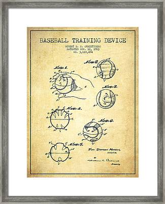 Baseball Training Device Patent Drawing From 1963 Framed Print