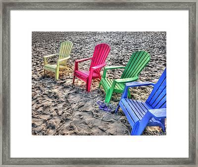 Framed Print featuring the digital art 4 Beach Chairs by Michael Thomas