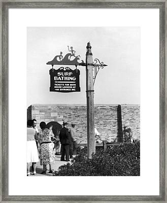 Beach Signs In New York Framed Print by Underwood Archives
