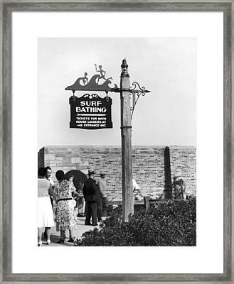 Beach Signs In New York Framed Print