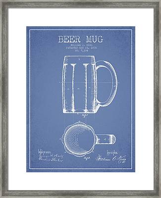 Beer Mug Patent From 1876 - Light Blue Framed Print by Aged Pixel