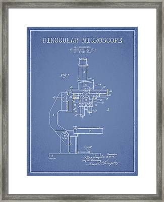 Binocular Microscope Patent Drawing From 1931 - Light Blue Framed Print by Aged Pixel