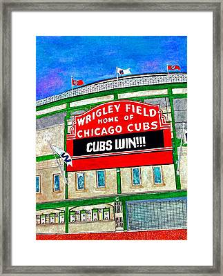 Blue Skies Over Wrigley Framed Print by Janet Immordino