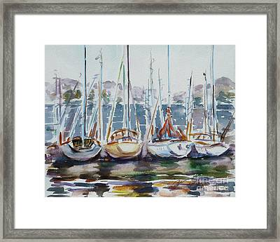 4 Boats Framed Print by Xueling Zou