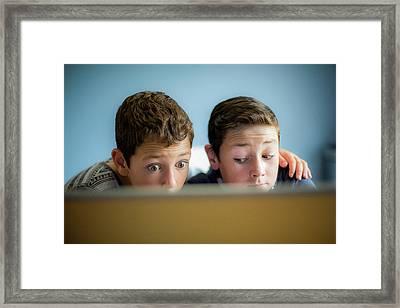 Boys Using Laptop Framed Print