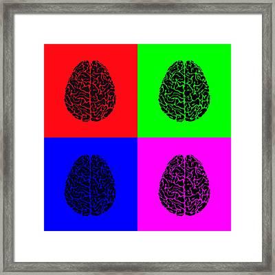 4 Brain Pop Art Panel Framed Print by Daniel Hagerman