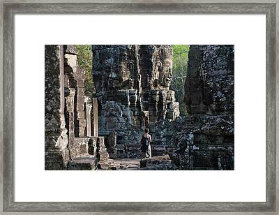 Buddhist Statues At Bayon Temple Framed Print by Keren Su