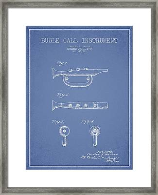 Bugle Call Instrument Patent Drawing From 1939 - Light Blue Framed Print by Aged Pixel