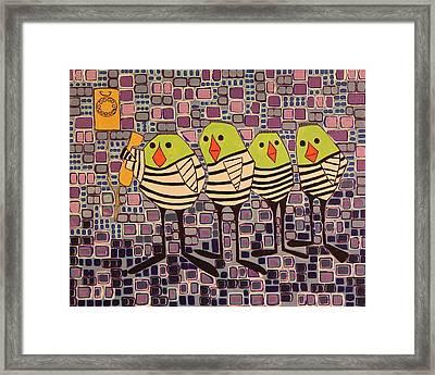 4 Calling Birds Framed Print