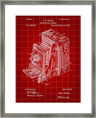 Camera Patent 1887 - Red Framed Print by Stephen Younts