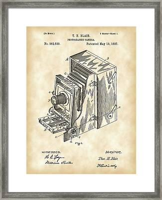 Camera Patent 1887 - Vintage Framed Print by Stephen Younts