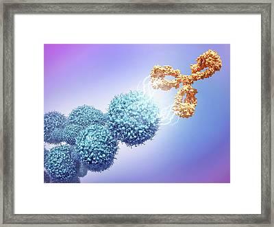 Cancer Drug Attacking Cancer Cells Framed Print by Maurizio De Angelis