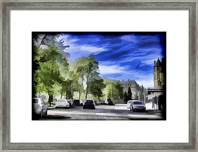 Cars On A Street In Edinburgh Framed Print