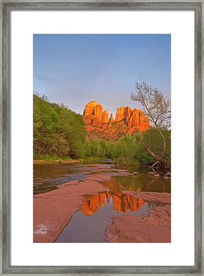 Cathedral Rocks Reflect Into Oak Creek Framed Print