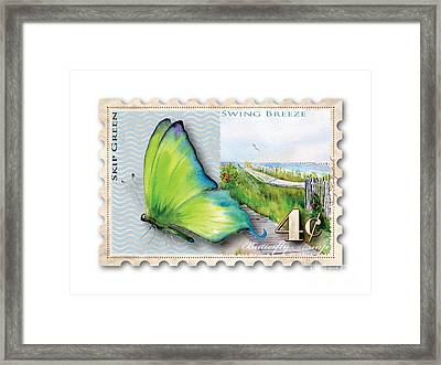 4 Cent Butterfly Stamp Framed Print