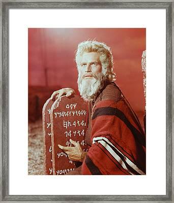 Charlton Heston In The Ten Commandments Framed Print by Silver Screen