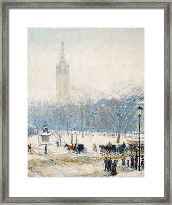 Winter In Union Square Framed Print by Childe Hassam