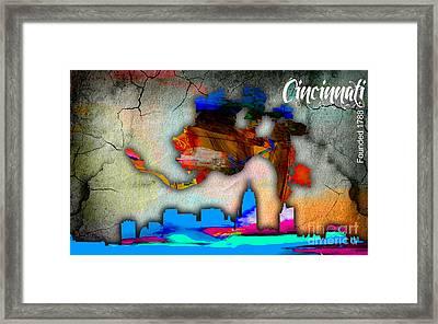 Cincinnati Map And Skyline Watercolor Framed Print by Marvin Blaine