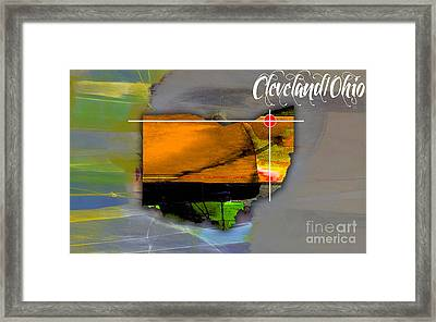 Cleveland Ohio Map Watercolor Framed Print