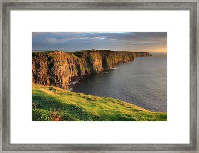 Cliffs Of Moher Sunset Ireland Framed Print by Pierre Leclerc Photography