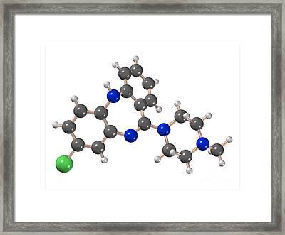 Clozapine Antipsychotic Drug Molecule Framed Print by Dr. Mark J. Winter