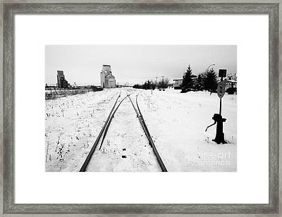Cn Canadian National Railway Tracks And Grain Silos Kamsack Saskatchewan Canada Framed Print