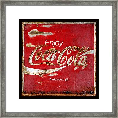 Coca Cola Vintage Rusty Sign Black Border Framed Print by John Stephens