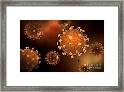 Conceptual Image Of Influenza Causing Framed Print by Stocktrek Images