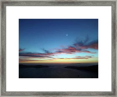 Crescent Moon In Cloudy Sky Framed Print by Detlev Van Ravenswaay